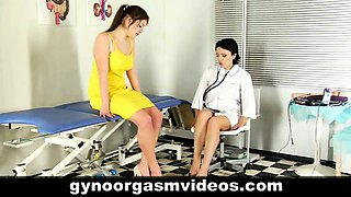 Lesbian doctor helps her patient with orgasm