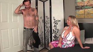 Big boobs stepmom gives son a hand