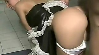 Very hot cleaning lady in French maid outfit getting screwed