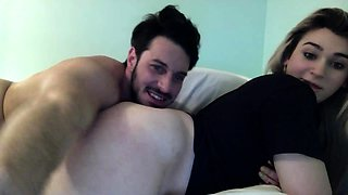 Alluring blonde shemale has a guy blowing her hard shaft
