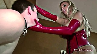 Dominant mistress teaches obedience