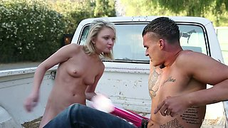 Instead of washing car lusty Dakota Skye gets her anus fucked hard