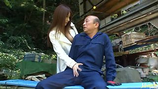 Slender Miki Itoh rides a cock with pleasure outdoors