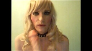 Transvestite tv Sandra posing and sucks strapon