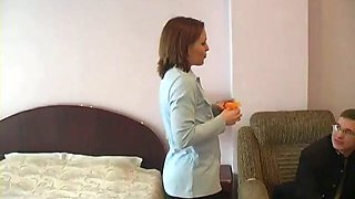 Redhead milf shows her body to a guy and lets him kiss her vag