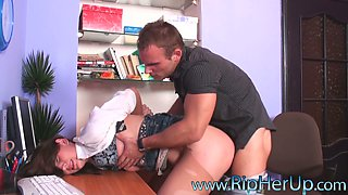 Nasty blonde secretary Saskia Lorensen anal abused and drilled bad.
