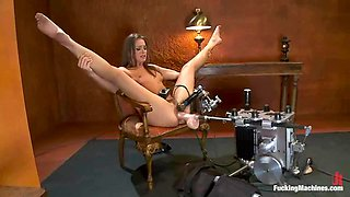 Superb Tori Black gets her hairy pussy toyed by a machine