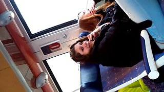 Voyeur train video clip of two hot brunettes