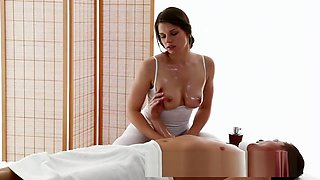 Big boobs masseuse enjoys fat cock in her tight oiled hole