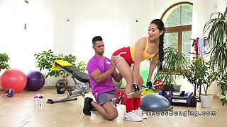 Hot ass fitness Asian babe fucked at the gym