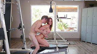 Bosomy lovely hottie Sabrina Cyns bends over to be fucked by her coach