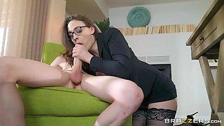 Busty secretary Chanel Preston blows and rides a big dick for cum