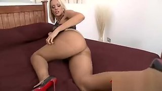 Blonde milf ripping off her nearly black tights pantyhose nylons