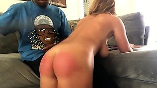 Big breasted blonde gets spanked and fucked by a black guy
