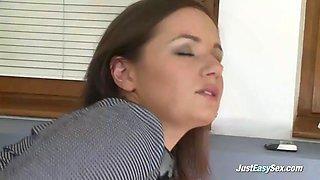 Hot secretary stripping in office