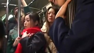 Lesbian Japanese have some fun on the bus