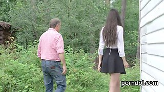 Lovely schoolgirl gets teased and drilled by older schoolteacher