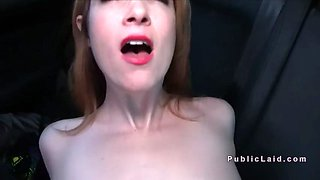 Amateur babe fucks in car at mountain