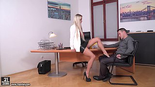 Stunning blonde fucks a couple of handsome men on a desk