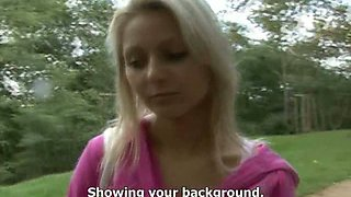 Lustful Czech chick Ingrid gets her pussy finger fucked in the car