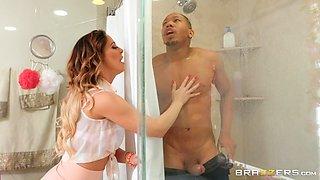 blonde milf rides bbc in the shower