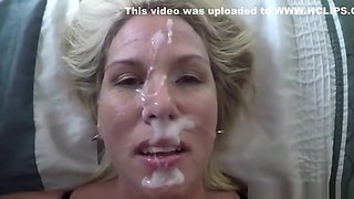 Covering the face of a mature gal in jizz