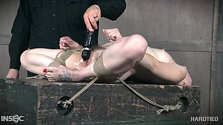 bobbi has her clit drilled while she's bound