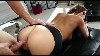 Bitch in ripped yoga pants August Ames is impaled on hard and meaty shlong