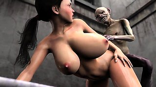 Buxom 3D beauty has a hung monster pounding her juicy cunt