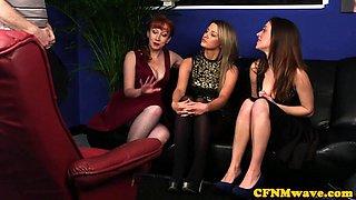 Classy british femdoms suck sub in cfnm group