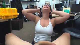 Woman with glasses gets boned by pawn man in his office