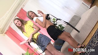 Blond chick Linda C bought a huge dildo for her new girlfriend