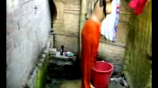 young girl bathing........................