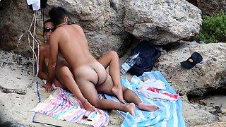 Lustful amateur couple enjoying hot sex action on the beach