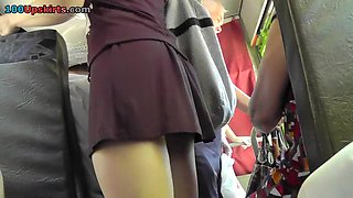 Angels hawt butt upskirt closeup on the bus