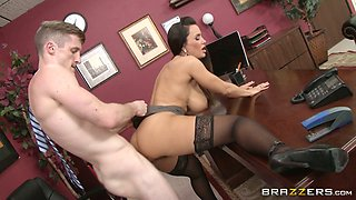 Bad boy fucks mega busty horny MILF Lisa Ann in the office hard