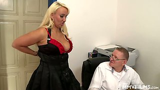 Nerdy boss takes a chance to fuck hired prostitute Kitty Wilder