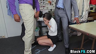 Hornzy brunette gal gets DPed by some black studs