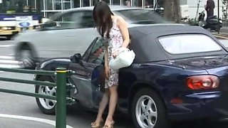 Naughty Asian chick in public sex action