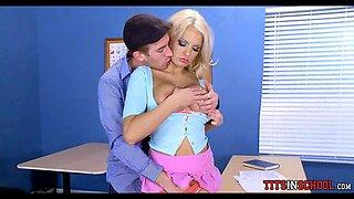 Big Blonde boobs in Detention