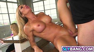 Sexy mom seducing daughters friend