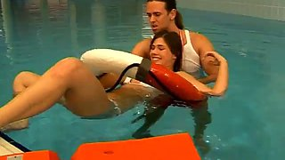 Brunette and boyfriend sex at pool