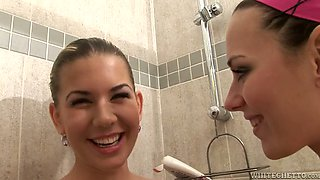 Hilarious happy and voracious lesbians take shower and masturbate together