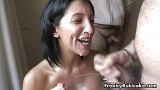 Spanish porn slut eats a lot of cum