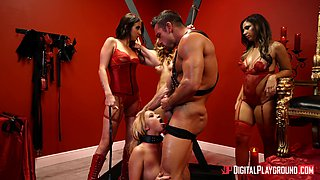 Aubrey Rose and Bailey Brooke join a hot babe for a freaky foursome