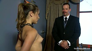 Kristina Rose gets her pussy rubbed with a toy in BDSM video