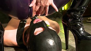 Slave drinks piss from smoking latex mistress