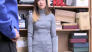 Young Virgin Asian Teen Caught Shoplifting Blackmailed Into Fucking Officer For No Cops