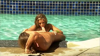 autumn bliss seduces a guy for a pool fucking session
