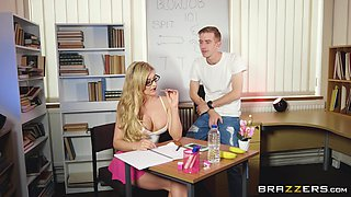 Babe with glasses Carla Pryce enjoying the taste of a yummy boner